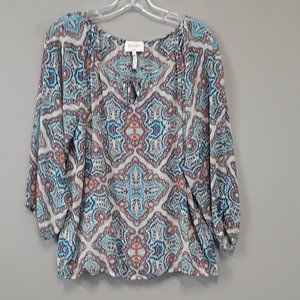 Laundry by Shelli Segal Paisley Bell Sleeve Top